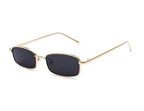 Bmeigo Gafas de Sol Mujer Vintage Retro Rectangulares metálico Lentes Unisex Moda Gafas UV400 Protección ligero