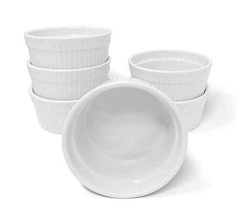 White Porcelain 6-Piece Ramekin Set, 4oz. Dishwasher, Microwave and Oven Safe!