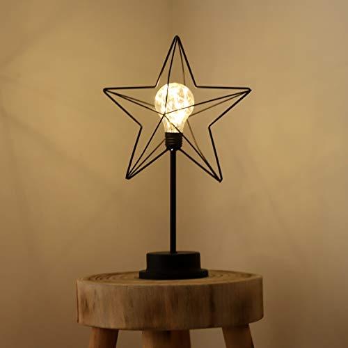 SALCAR LED Sternen Tischlampe mit Kupferschnur, 18 LEDs Lampe mit Standfuß, Stromversorgung über USB oder Batterie - Warmweiß