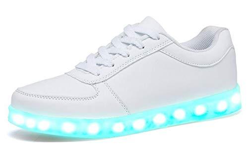 [サンダイ] ナイト ラン メンズ レディース キッズ LED スニーカー 19.5cm ~ 29cm 7色+4パターン発光 11通り USB 充電式 (43(27-27.5cm), ホワイト)