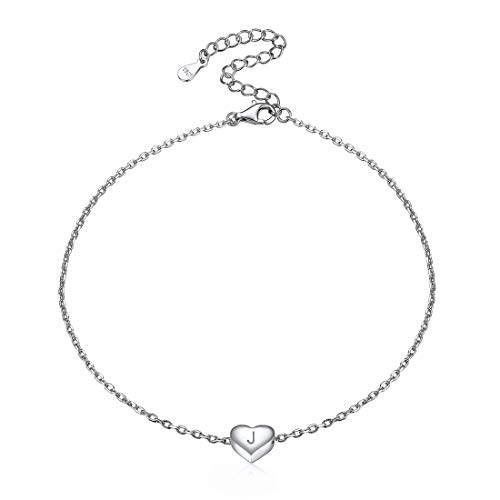 ChicSilver Silver 925 Heart Charm Foot Anklet Minimalist Summer Jewelry Letter Initial Ankle Bracelet for Women Girls