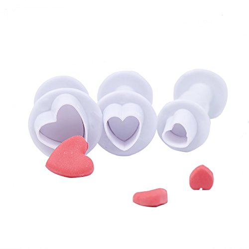 3Pcs Fondant Heart Shaped plunger Cutter Sugarcraft Cake Decorating Tools