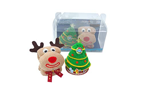 Medi 3D Christmas Towel Holiday Decorative Towels 100% Cotton Soft Washcloths Baby Wash Towels Hand Towels Kids Towels Gift-Set (Christmas Elk, Christmas Tree)