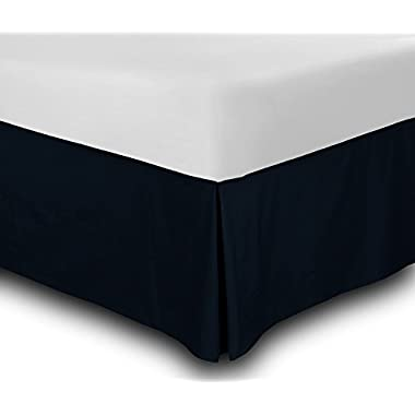 Utopia Bedding Cotton Sateen Bed-Skirt (Twin, Navy) - 100% Finest Quality Long Staple Fiber - Durable, Comfortable and Abrasion Resistant, Quadruple Pleated, Cotton Blended Platform