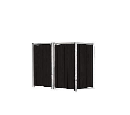 Hide Mülltonnenbox für 2 Mülltonnen, Mülltonnenverkleidung, Gerätebox Natur // 139x81x115 cm (BxTxH) // Aufbewahrungsbox 240l Volumen Farbauswahlvariante Natur Schwarz