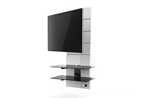Meliconi Ghost Design 3000 Rotation Supporto Doppio Braccio Orientabile per TV da 32  a 63  con Mensole in Vetro Temperato, Bianco