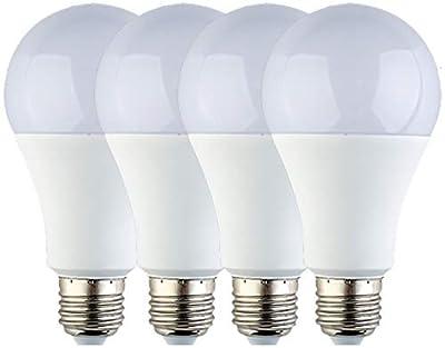12V LED Light Bulb - Daylight 7W E26 Standard Base 60W Equivalent - DC/AC Low Voltage Light Bulb for RV, Solar Panel Project, Boat, Garden Landscape, Off-Grid Lighting, Pack of 4