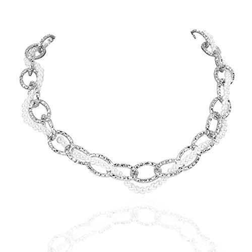 Collar con colgante para mujer de doble capa, estilo vintage, con perlas y cadena gruesa
