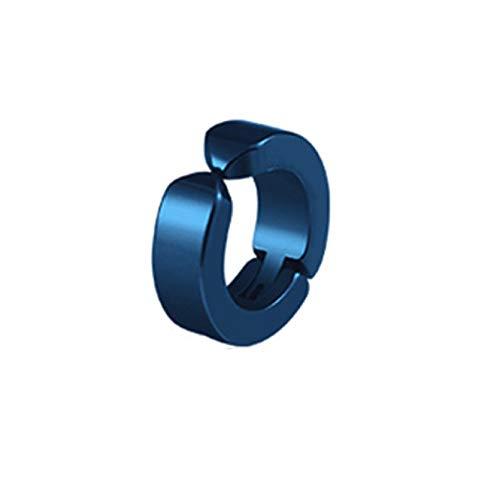 TTYJWDWY-Clip de Oreja Pendientes no perforantes Pendientes Falsos para Hombres Pendiente Redondo Circular Joyería de Moda Estilo Punk Rock-Azul