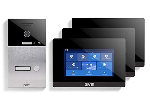GVS AVS1086U - Videoportero de 4 cables/IP, estación de puerta empotrada IP65, monitor de 3 x 7 pulgadas, aplicación HD, cámara de 120 °, función de apertura de puerta, 32 GB de memoria, conmutador PoE, 1 juego de casa familiar