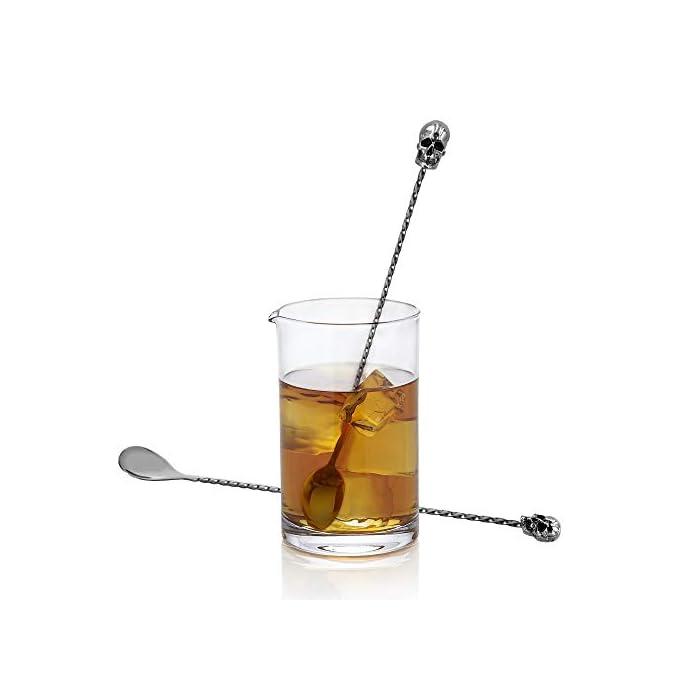 Homestia Skull Bar Spoon 12 Stainless Steel Mixing Spoon Set Of 2black Bar Tool Halloween Gift Set