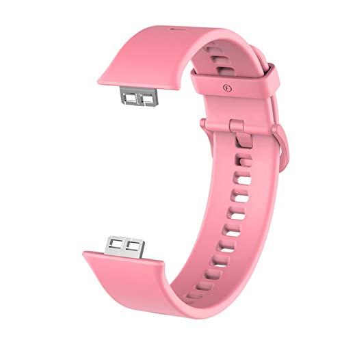 SGGFA Funda protectora+correa para reloj Huawei Fit Smart Watches Full Cover Protector de pantalla Películas Shell pulsera accesorios (color de la correa: rosa, ancho de la correa: para ajuste huawei)
