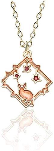 Collar Diy Collar de dibujos animados Cielo estrellado Conejo Charm Colgante Collar Esmalte Marco Estrella Conejito Collares pendientes Joyería de animales encantadores
