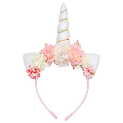 UKKO Tocados de Pelo Unicornio Diadema Mujeres Niños Flower Cuerno Banda De Cumpleaños Fiesta De Cumpleaños Hecho A Mano Crown Crown Headwear