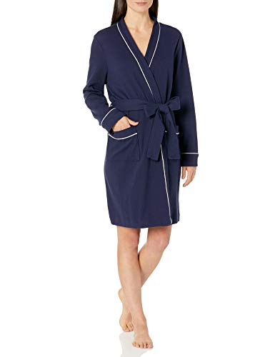 Amazon Essentials Lightweight Waffle Mid-Length Robe Bathrobes, Blu Marino, XX-Large