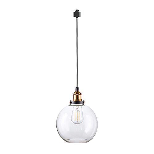 ANYE 3.2 Feet Cord 1-Light Track Pendant Light H-Type 3 Wire Crystal Glass Shade Loft Decorative Lights Retro Vintage Style Light Fixtures Bulbs Not Included