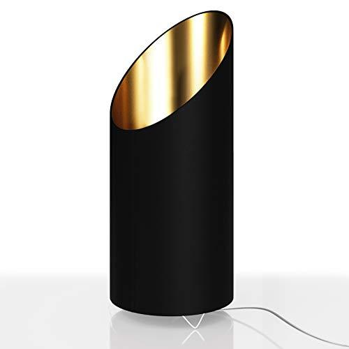 Deuba Designlampe Tischlampe Flammeneffekt 44cm Schwarz/Gold Nachttischlampe Tischleuchte Schreibtischlampe Design Lampe