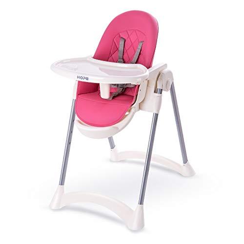 Verstelbare baby kinderstoel - PU lederen opvouwbare baby eetstoel met uitneembare dubbele lade en 5 punt veiligheid harnas/opklapbare rugleuning en opvouwbaar roze