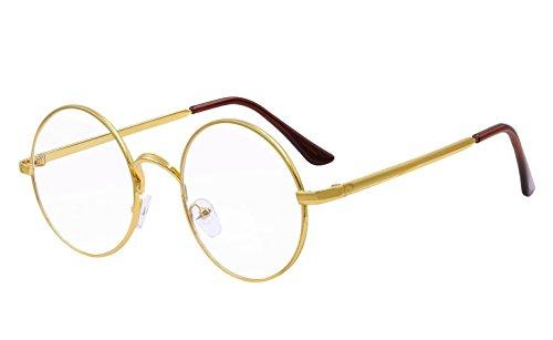 BOZEVON Lentes Claro Anteojos Transparentes - Redondo Ultrafino Marco de Metal Gafas de Lectura Decoración Retro Gafas Para Hombres Mujeres Oro (Redondo)