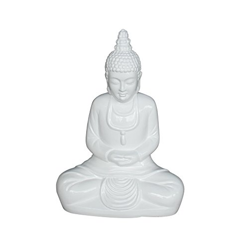 HOMEA 5DEJ1202BC Statue - Bouddha Clay Laque, Fibre, Blanc, 39 x 22 x 52 cm