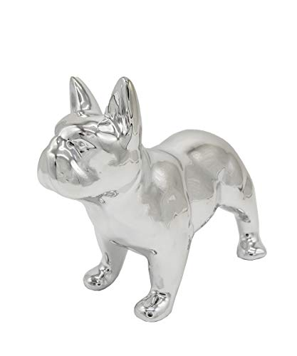 Ceramic Dog Statue - Standing French Bulldog (Metallic Silver)