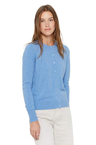 State Cashmere Women's 100% Pure Cashmere Button Front Long Sleeve Crew Neck Cardigan Sweater (X-Small, Baby Blue)