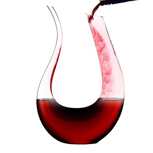 Amisglass Decanter per Vino Aeratore Design Cigno, Caraffa per Vino Rosso in Verto Cristallo Trasparente, Soffiato a Mano Senza Piombo, Decantatore Accessorio per Vino - 1.5L