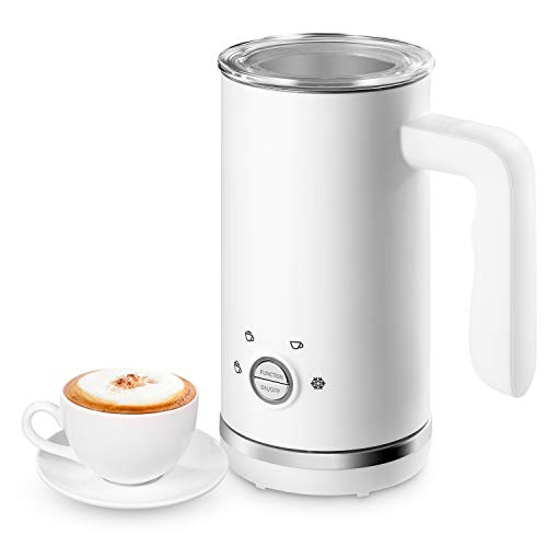 Milk Frother, EPLIANS Automatic Electric Milk Frother and Steamer, Stainless Steel Coffee Milk Heater, Hot & Cold Steamed Milk Foam Warmer for Coffee, Cappuccino, Latte, Hot