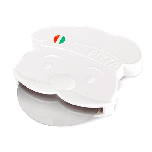 Balvi Corta Pizza Pizzaiolo Color Blanco Corta Pizza Original Diseño en Forma de Chef Pizza Italiana Utensilio Cocina Original Plástico ABS/plástico 11,4x10,9x1,7 cm