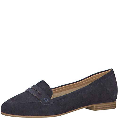 Tamaris Damen SlipperMokassins 24220-24, Frauen Slipper, Freizeit schlupfhalbschuh Slip-on freitzeitschuh,Navy,39 EU / 5.5 UK