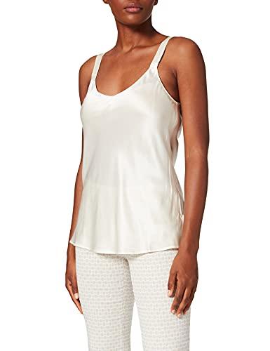 Palmers Damen Shirt aus Seide Silky Nights Schlafanzugoberteil, Elfenbein (Pearl 224), 40 (Herstellergröße: M (40-42))