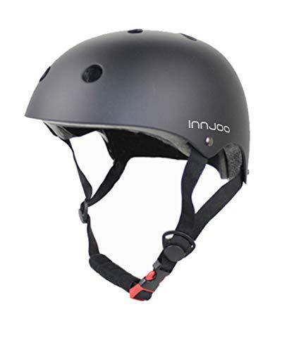 InnJoo IJ-Helmet-BLK Casco Patinete Eléctrico, Bicicleta Urbana, Patines y Skateboard, Adultos Unisex, Negro, Talla única