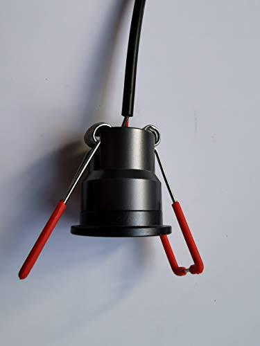 3W LED Mini Einbaustrahler, Aluminium, IP65 Wassergeschützt, 3000K Warmweiß, Dimmbar, Funk-Netzteil, Minispots für Innen- und Außenbeleuchtung (Anthrazit, 8x Minispot)