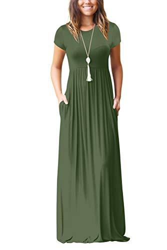 Damen Sommerkleider Kurzarm Lose Blumen Maxikleider Casual Lange Kleider mit Taschen, Grün, M
