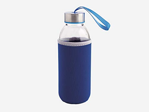 Quid Botella Cristal C/Funda Azul 0.6L