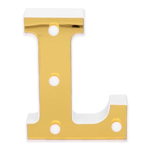 Letra L Light, Iluminación Interior Gold Light Up Sign Forma única Para Confesión Para Propuesta De Matrimonio