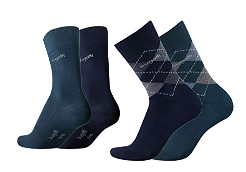 Bugatti Herren Socken 4er Pack Argyle + uni dark navy,anthrazit melange, Size:39-42, Farben:ind/nav