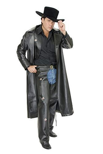 Men, Large (42-44) Pleather Cowboy Costume Duster for Men (Duster Only), black