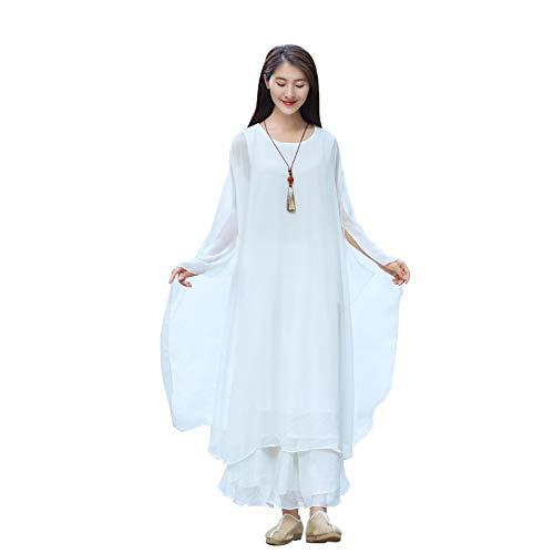 KUXUAN Uniforme de Tai Chi para Mujer, Vestido de Té Chan Yi para Mujer, Vestido de Baile Zen de Verano, Conjunto de Vestido de Gasa Retro Artístico de Estilo Chino,White-Large