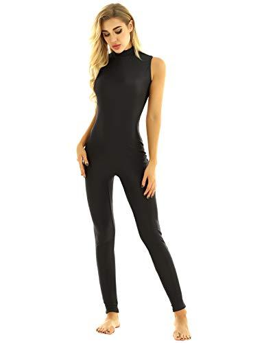 TiaoBug Damen Ballett Gymnastik Sport Trikot Anzug Body Overall ohne Arm Tank Top Lange Hose Leggings Tights Yoga Tanz Leotard Bodysuit gr.S-XXL Schwarz Rollkragen S(Brust 71cm)