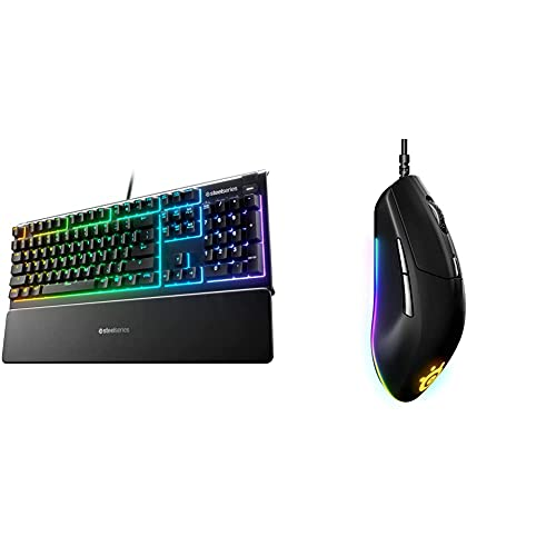 SteelSeries Apex 3 RGB Gaming Keyboard – 10-Zone RGB Illumination – IP32 Water Resistant – Premium M with Rival 3 Gaming Mouse
