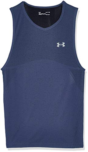 Under Armour Men's Seamless Workout Tank Top, Blue Ink (497)/Mod Gray, X-Large