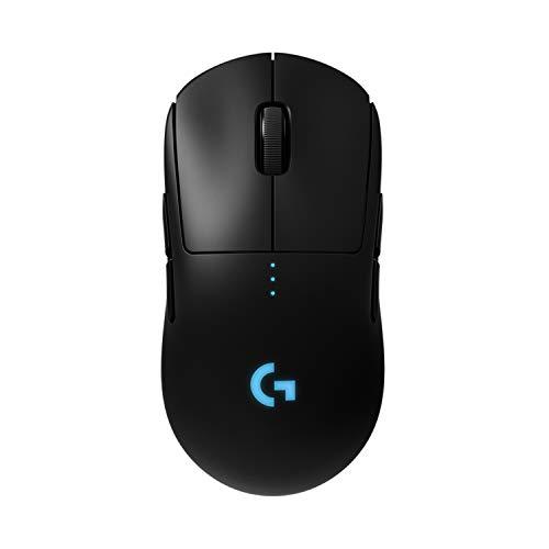 Logitech G PRO Mouse Gaming Wireless, Sensore HERO 16K, 16000 DPI, RGB, Leggero, Progettato per eSport, 4/8 Pulsanti Programmabili, Memoria Integrata, per PC/Mac/Laptop, Imballaggio Tedesco, Nero