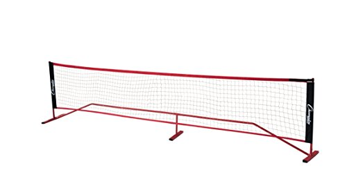 Champion Sports Portable Volleyball Net: Adjustable 14 Foot Racquet Sport, Tennis, Badminton, and Game Net - Red