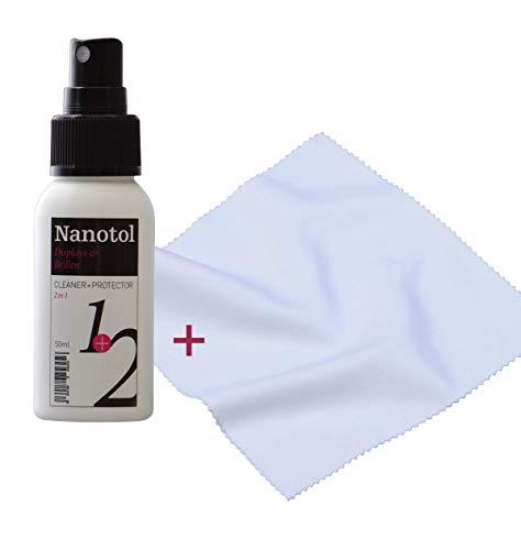 Brillenreiniger Spray und Display Reiniger mit Nanoversiegelung - mit Microfaser Brillenputztuch - spart 80% Reinigungszeit