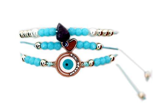 Pulsera mujer Brazalete cordón cuentas brillantes Piedras preciosas Bisutería dorada Joya Corazón - Conjunto 3 piezas - Azul