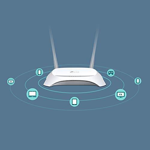 Huawei entsperrt E3372-LTE / 4G 150 Mbit/s USB-Dongle- Weiß & TP-Link TL-MR3420 N300 WLAN LTE Desktop Router (300Mbit/s 2,4GHz, 4 10/100Mbit/s LAN-Port, 3G/4G-Router) weiß/grau