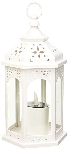 LuminalPark Lanterne Solaire hexagonale Blanche avec Bougie, h 32,5 cm, LED Jaune