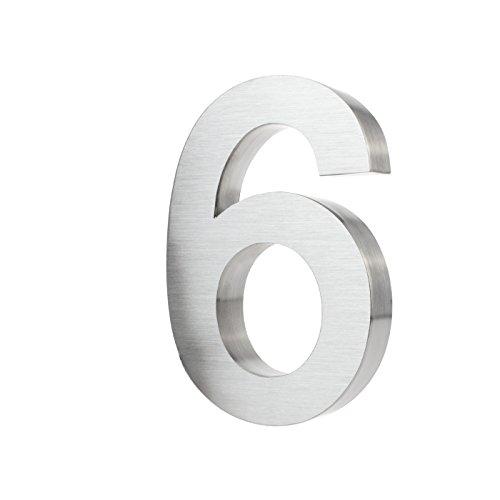 KOBERT GOODS Hochwertig Modern Gebürstet Edelstahl V2A Hausnummer 6 klassisch 3D-Effekt Design Wetterfest und Rostfrei inklusive Montage-Material Höhe 20cm Tiefe 3cm Groß für Haus und Gartenzaun
