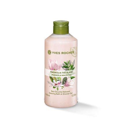 Yves Rocher LES PLAISIRS NATURE Duschbad Magnolie-Weißer Tee, Aroma-Schaumbad & pflegendes Duschgel, 1 x Flacon 400 ml